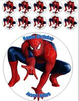 "Spiderman Birthday cupcake & 7.5""cake topper round edible wafer or icing sheet"