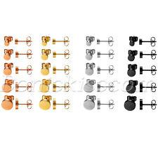 10pcs Mens Women Stainless Steel Barbell Dumbbell Round Ear Studs Earrings 4-8mm