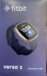 Fitbit Versa 3 Activity Tracker - Midnight/Soft Gold Aluminum - New Sealed