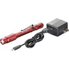 Streamlight 66136 Red Stylus Pro USB Flashlight w/ 120V AC Adapt, USB Cord