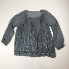 Soft Surroundings Gray Sheer Floral Embroidered Boho Shirt Top Sz M