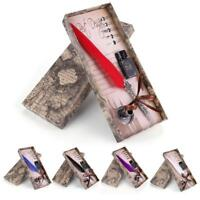 Fashion Retro Quill Dip Pen Goose Feather Pen With Ink Bottle+5 Nibs Set Gift TS
