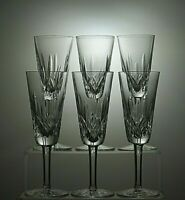 """WATERFORD CRYSTAL """"LISMORE"""" CUT CHAMPAGNE FLUTES SET OF 6 SIGNED - 7 1/4"""" TALL"""
