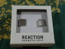 NEW KENNETH COLE Reaction Cuff Links Square Stainless Silver MENS Formal Dress