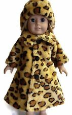 "Animal Print Faux Fur Coat & Hat made for 18"" American Girl Doll Clothes"