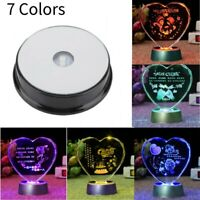 Colorful Round 3D Crystal Glass Trophy Laser LED Light Up Stand Base Display