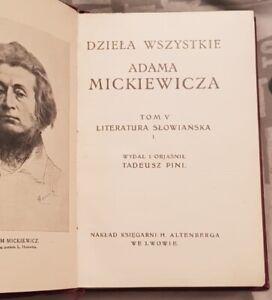DZIELA WSZYSTKIE ADAM MICKIEWICZ Tom V   Hardback 1913   Polish book