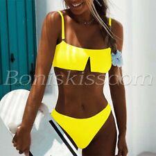 2pcs Women Sexy Solid Color Bikini Set Padded Adjustable Strap Swimwear Swimsuit