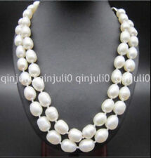 """2 row 11-13MM NATURAL SOUTH SEA WHITE BAROQUE PEARL NECKLACE 18-19"""" 14K JN1085"""