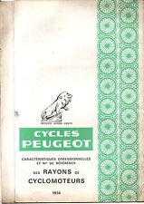 Caracteristique RAYON CYCLOMOTEURS PEUGEOT mobylette GT10 101 102 103 104 SPR TS