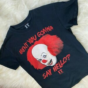 Stephen King IT t-shirt Small Pennywise Clown Aren't You Gonna Say Hello Black