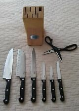 Ginsu 8-piece Knife Set and Solid Wood Block, Good Pre-owned Condition