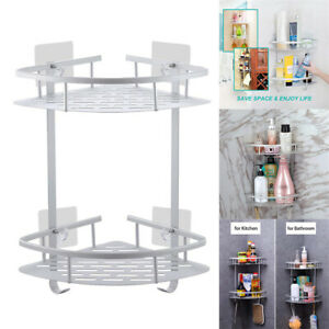 2 Tiers Corner Shower Caddy Organizer Storage Rack For Toilet With Adhesive