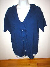 New Womens Express Top Dark Navy Blue XS Nice Work School Blouse SS Viscose