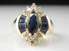 Sapphire Diamond Ring 14K EFFY Yellow Gold Blue Marquise Baguette Genuine