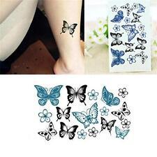 Mode tatouage temporaire waterproof en forme de papillon noir ou bleu