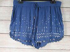 Victoria's Secret Blue Sequin Trim Lounge Sleep Shorts Women's Medium M Pajama