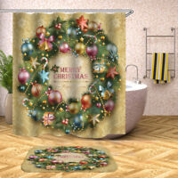 Christmas Waterproof Bathroom Shower Curtain Toilet Seat Cushion Set Non Slip