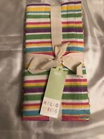 NWT! Set of 4 Pier One Napkins Napperon Multicolor Striped 20 x 20 in