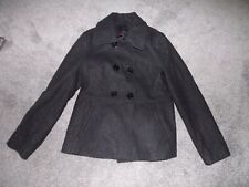 ATTENTION Gray Wool Blend Lined COAT Button Up Peacoat Jacket Womens Medium