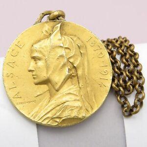 Vintage Alsace Alsacienne French France Medal Pendant Necklace