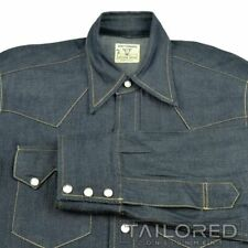 LEVI STRAUSS LVC Sanforized Western Wear Blue DENIM Cotton Casual Shirt - MEDIUM