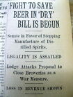 4 1917 newspapers BEGINNING of PUSH for NATIONAL PROHIBITION in UNITED STATES