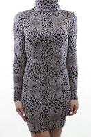 RIVER ISLAND Chelsea GIrl beige black jacquard jersey poloneck dress size 8