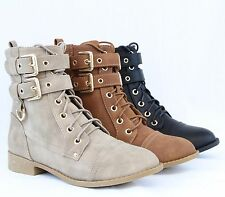 Women Fashion Ankle Booties Golden Buckle Combat Boots Sexy Lace Up Comfort Shoe