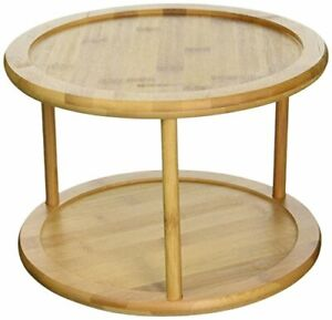 Bamboo Wooden Lazy Susan Turntable 2 Tier Spice Kitchen Strongly 360-Degree NEW