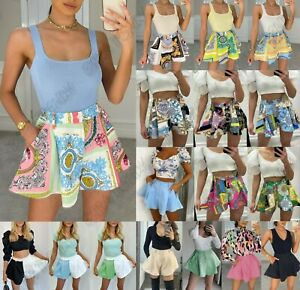 Women Ladies High Waisted Printed Summer Party Tailored Flared Mini Skort Shorts