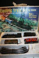 LOUIS MARX 490 ELECTRIC TRAIN SET ORIGINAL BOX STEAM LOCOMOTIVE TENDER 2 CARS