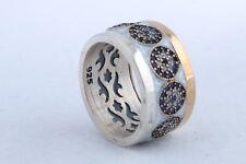 Turkish Jewelry White Enamel Evil Eye Sapphire Topaz Sterling Silver Ring All Sz
