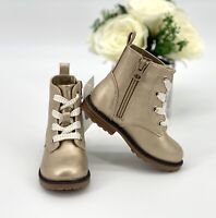 Toddler Girls' Giovanna Lace-Up Ankle Boots Size 10 Shoe Gold Booties Cat & Jack