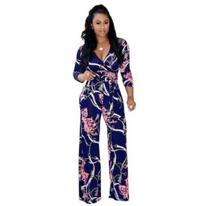 Womens Printed Wide Leg Pull On Casual Pants JUMPSUITS Long sleeve V-neck Loose