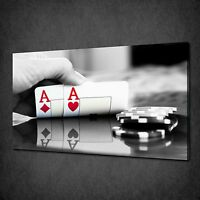 CASINO PAIR OF ACES CHIPS CARDS CANVAS WALL ART PRINT PICTURE READY TO HANG