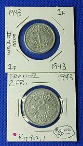 COINS FRANCE 1943 1 FRANC KM# 902.1 &  2 FRANCS KM# 902.2  Aluminium