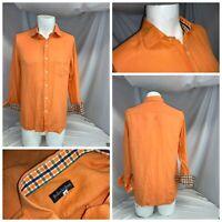 Bullock & Jones Flip Cuff Shirt M Men Orange Linen Made Spain LNWOT YGI E0-538