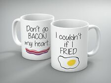 """Funny Mug - Custom """"Don't go bacon my heart"""" His and Hers Mug Set - Coffee Mug"""