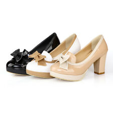 Womens Shoes Bowknot Synthetic Leather High Block Heels Party Pumps AU Size S520