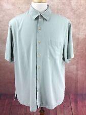 Nat Nast American Fit Silk Button Front Short Sleeve Green Camp Shirt Men's XL