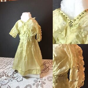 "Antique Vintage Hand Sown Silk Doll Dress Tiny Metal Bead Trim L12"" TLC"
