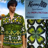 Vintage 60s KEONE hawaiian shirt surfer zodiac zip barkcloth tiki shamrock men M