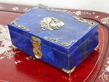 Hand Crafted Lapis Lazuli Gemstone / brass jewellery Box Afghanistan Music N18/2