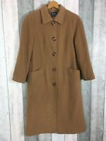 Kesta London Camel Brown Wool Cashmere Blend Long Length Coat Size 12