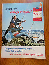 1965 Winston Cigarette Ad Couple Surf Fishing Theme