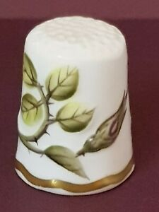 Royal Worcester bone china thimble, relief decoration, hand painted S Roberts