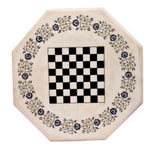 """24"""" Marble Chess Game Table Top Semi Precious Stones Floral Inlay For Home Decor"""