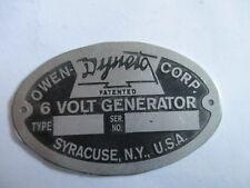 Nameplate Owen Dyneto 6 Volt Generator S35