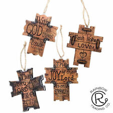 WOODEN CROSS CHRISTMAS ORNAMENTS  INSPIRATIONAL WESTERN  DECOR LOT OF 4